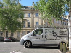 Clean and bright windows van parked in Laura Place a stunning part of Bath - with lots of windows for us to clean.