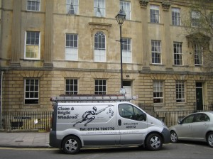Clean and bright windows van parked in a stunning part of Bath - with lots of windows for us to clean.
