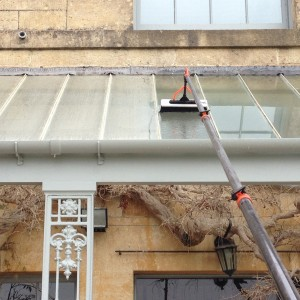 Clean and bright windows cleaning a skylight on a Bath residential property